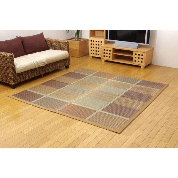純国産/日本製 い草ラグカーペット 『(F)FUBUKI』 ブラウン 約191×191cm(裏:ウレタン) 正方形