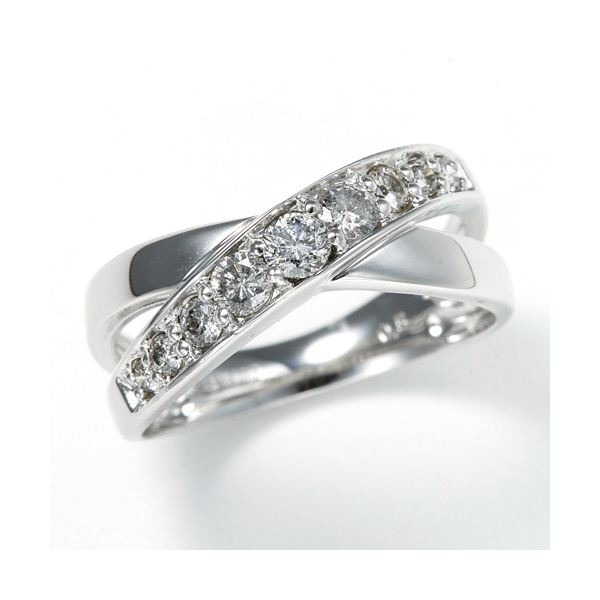 0.5ct ダブルクロスダイヤリング 指輪 エタニティリング 15号