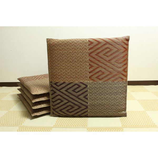 純国産/日本製 織込千鳥 い草座布団 『五風 5枚組』 ブラウン 約55×55cm×5P