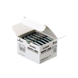 ラベルライター・カッティングマシン ネームランド用カートリッジ (まとめ) カシオ(CASIO) NAME LAND(ネームランド) スタンダードテープ 6mm 透明(黒文字) 5個入×20パック