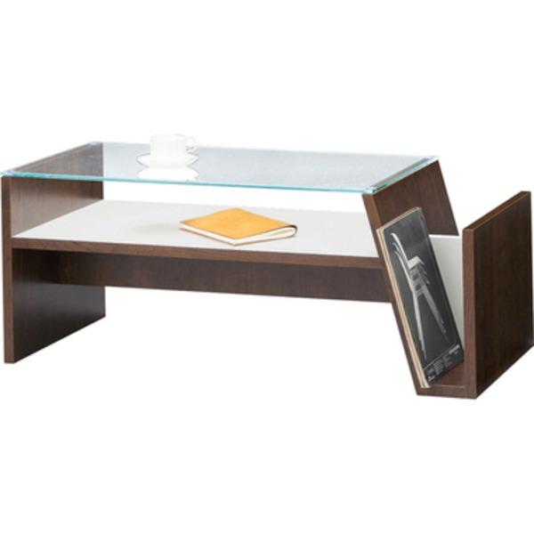 コーヒーテーブル 【moca】モカ 強化ガラス製 ラック/棚収納付き MOC-01BR ブラウン
