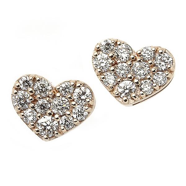 ダイヤモンド ピアス K18 ピンクゴールド 0.1ct ハート パヴェピアス 0.1カラット ハートパヴェ
