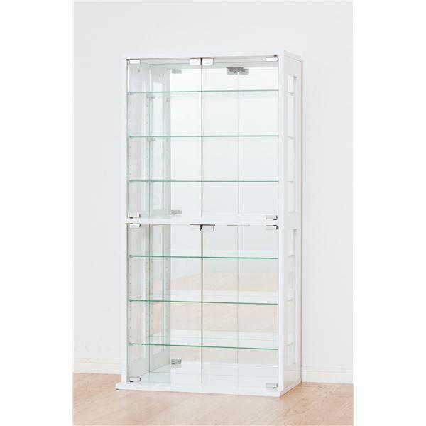 コレクションケース/収納ケース 【ホワイト】 ガラス製/背面鏡張り 幅60cm×奥行29cm 【組立】