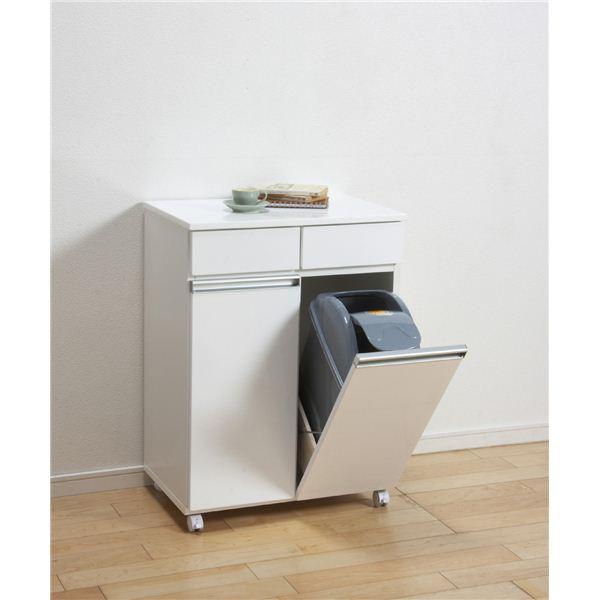ダストボックス/蓋付きゴミ箱 【2分別】 幅55cm キャスター付き ホワイト(白) 【完成品】