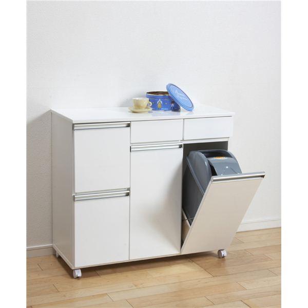 【スーパーSALE限定価格】ダストボックス/蓋付きゴミ箱 【2分別 引き出し収納付き】 幅82cm キャスター付き ホワイト(白) 【完成品】