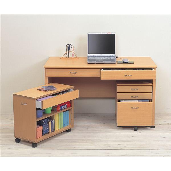 システムパソコンデスク/学習机 【ナチュラル】 デスク板幅120cm ラック/チェスト付 【デスク・ラック:組立/チェスト:完成品】