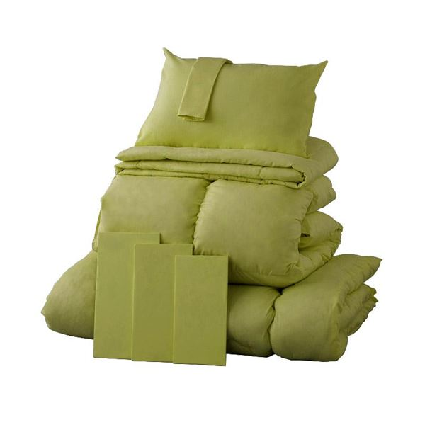 布団8点セット シングル モスグリーン 9色から選べる!シンサレート入り布団 8点セット【ベッドタイプ】