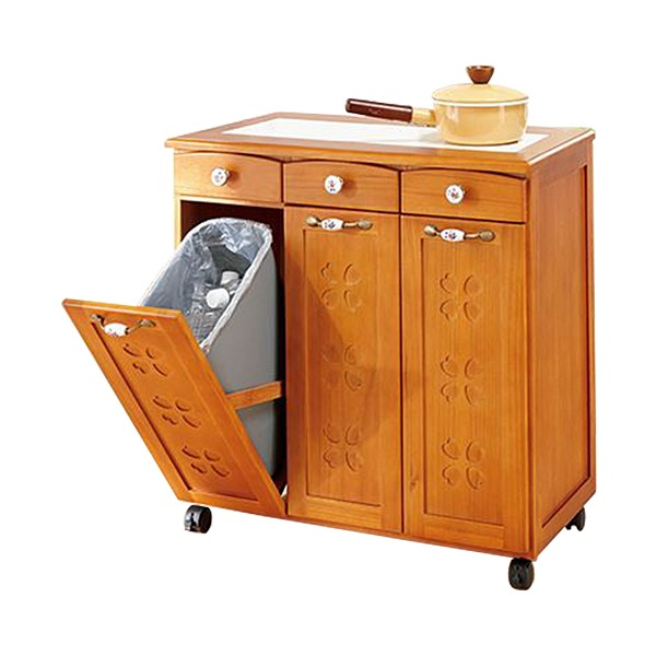 かわいいキッチンダストボックス(ゴミ箱) 【2: 3分別】 木製 引き出し/キャスター付き ライトブラウン 【完成品】