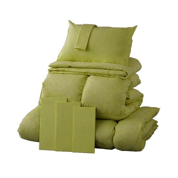 布団8点セット セミダブル モスグリーン 9色から選べる!シンサレート入り布団 8点セット【ベッドタイプ】