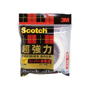 (まとめ)スコッチ 超強力両面テープ プレミアゴールド (スーパー多用途)25mm×3m 10巻