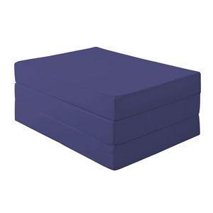 マットレス ダブル 厚さ12cm ミッドナイトブルー 新20色 厚さが選べるバランス三つ折りマットレス【代引不可】