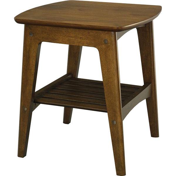サイドテーブル(ミニテーブル/コーヒーテーブル) 幅45cm 木製 収納棚付き 木目調