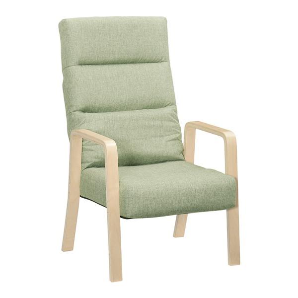 高座椅子/リクライニングチェア 【グリーン ハイタイプ】 幅58cm 木製 ハイバック 肘付き 折りたたみ 【代引不可】