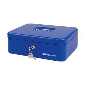 オフィスデポオリジナル 手提金庫 ブルー Lサイズ 1個