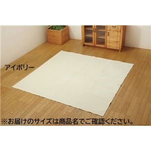 ラグ カーペット 3畳 洗える 無地 『イーズ』 アイボリー 約220×220cm 裏:すべりにくい加工 (ホットカーペット対応)