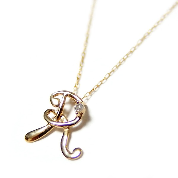 イニシャル ネックレス ダイヤモンド ネックレス 一粒 0.01ct K18 ゴールド 文字 R ダイヤネックレス ペンダント