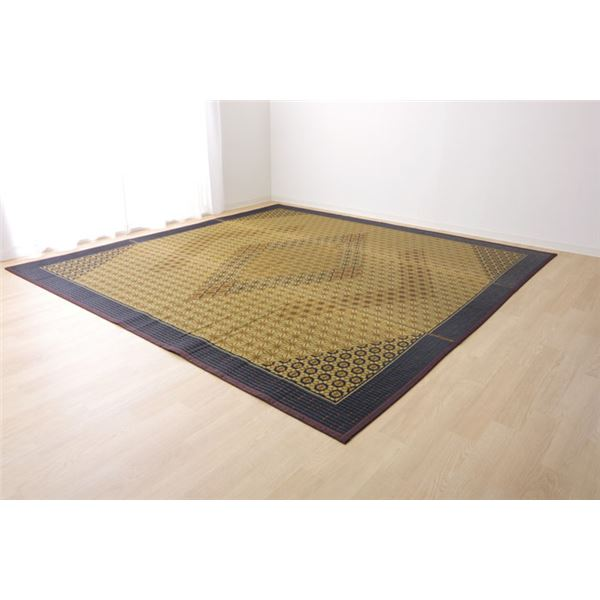 い草ラグ 国産 ラグマット カーペット 約3畳 正方形 『DX組子』 ブラウン 約191×250cm (裏:不織布)