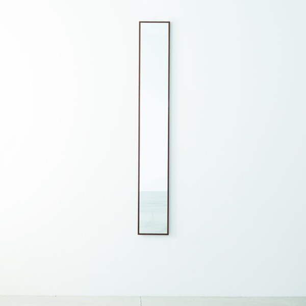 細枠ウォールミラー/姿見鏡 【スリム/ブラウン】 幅22cm 天然木フレーム 飛散防止加工 日本製 【完成品】
