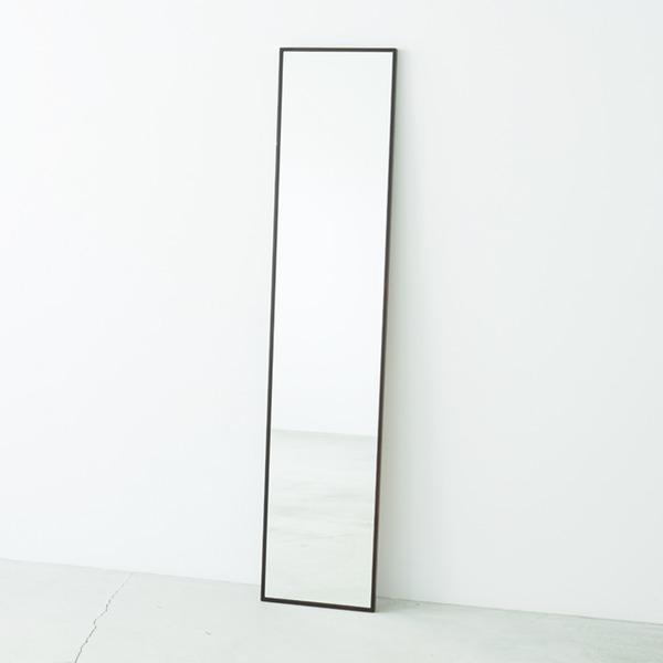 細枠ウォールミラー/姿見鏡 【スリム/ブラウン】 幅32cm 天然木フレーム 飛散防止加工 日本製 【完成品】