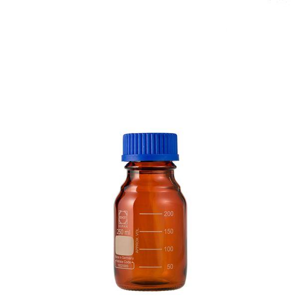 【柴田科学】ねじ口びん(メジュームびん) 茶褐色 青キャップ付 250mL【10個】 017210-250A