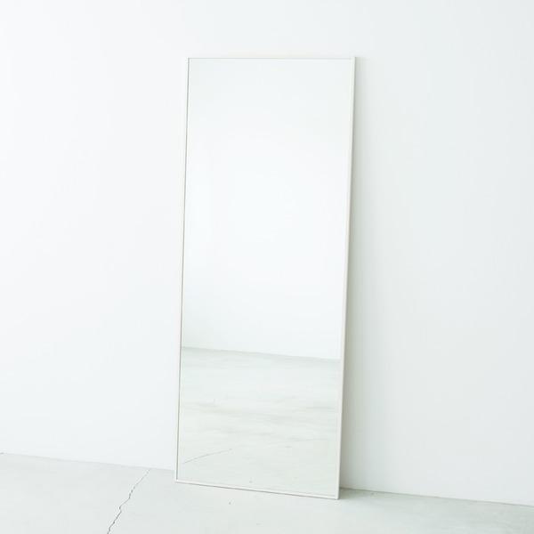 細枠ウォールミラー/姿見鏡 【ワイド/ホワイト】 幅60cm 天然木フレーム 飛散防止加工 日本製 【完成品】