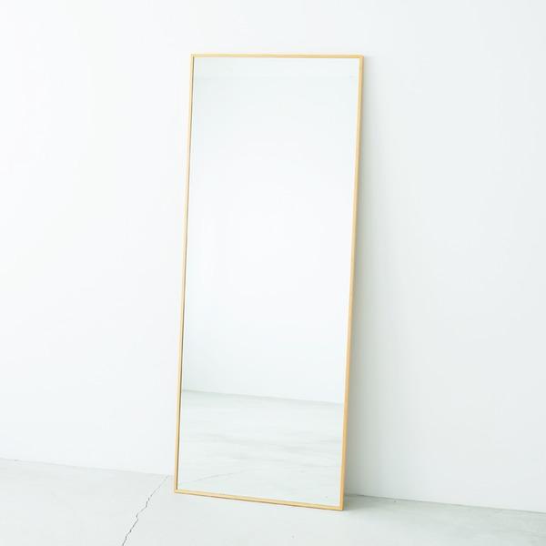 細枠ウォールミラー/姿見鏡 【ワイド/ナチュラル】 幅60cm 天然木フレーム 飛散防止加工 日本製 【完成品】