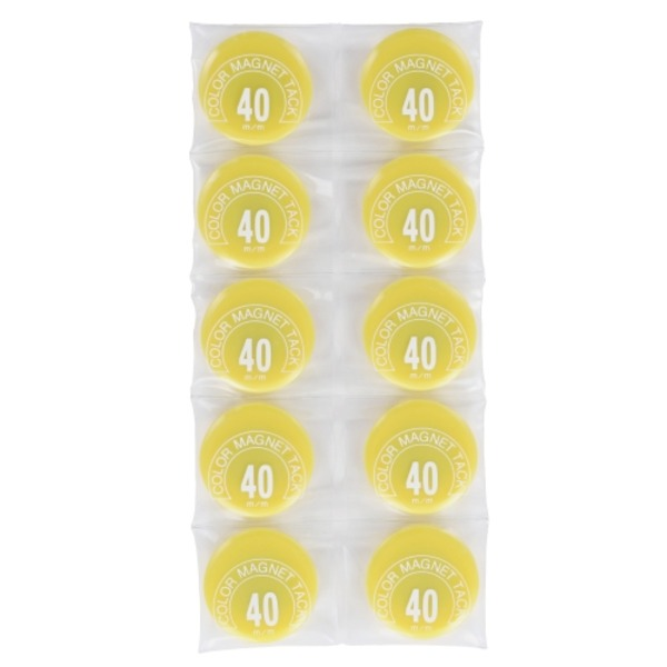 (業務用50セット) ミツヤ カラーマグネット MR-40 黄 40mm 10個