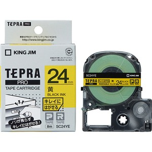 【スーパーSALE限定価格】(業務用30セット) キングジム テプラPROテープ/キレイにはがせるテープ 【幅:9mm/長さ24m】 黄に黒文字 SC24YE