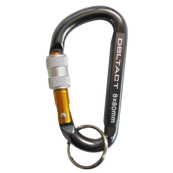 (業務用75個セット) DT アルミカラビナ ロック式 8mm 【ガンメタ×ゴールド】 DT-AKL-181