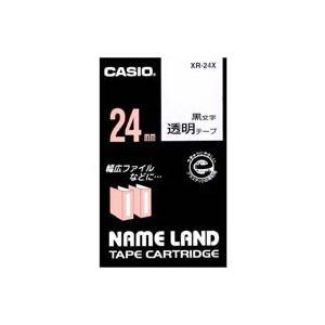 (業務用30セット) カシオ CASIO 透明テープ XR-24X 透明に黒文字 24mm