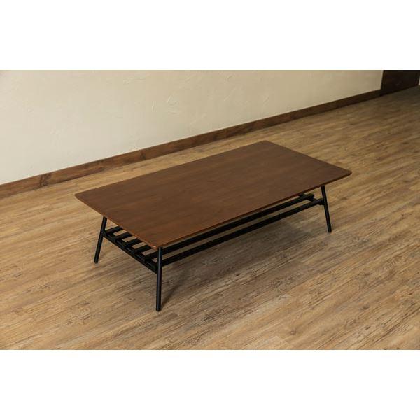 棚付き折れ脚テーブル/折りたたみローテーブル 【幅120cm ウォールナット】 棚板取り外し可 『Luster』 木目調 【完成品】【代引不可】