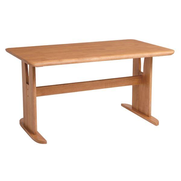 ダイニングテーブル/2本脚テーブル 【長方形 幅135cm】 木製 ブラッシング加工  ナチュラル【代引不可】