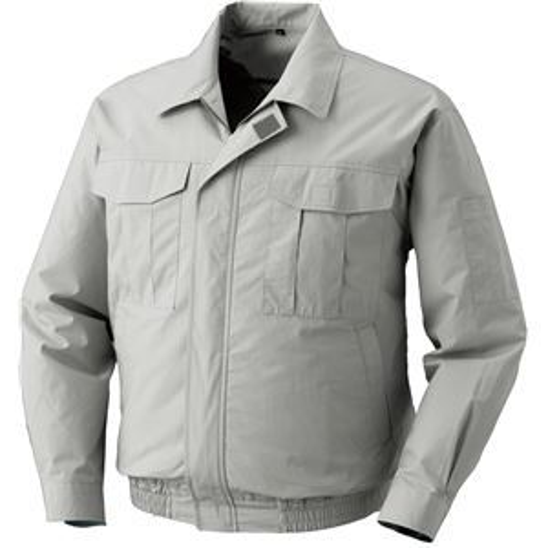空調服 綿薄手長袖作業着 BM-500U  【カラー:シルバーサイズ:2L】 リチウムバッテリーセット