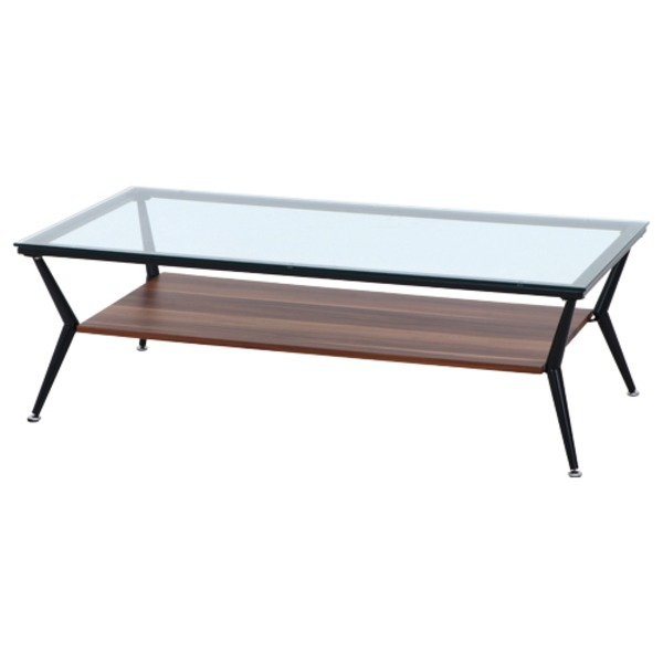 ガラス製リビングテーブル/ダイニングテーブル 【ダークブラウン 幅120cm】 強化ガラス天板 スチールフレーム 棚板付 『クレア』【代引不可】