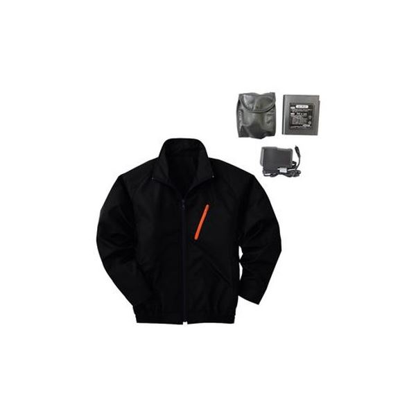 空調服 ポリエステル製長袖ブルゾン P-500BN 【カラー:ブラック サイズ:LL】 リチウムバッテリーセット