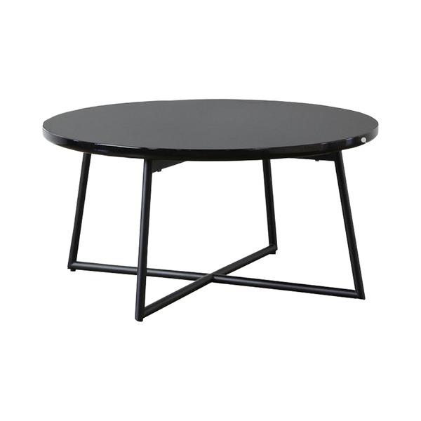 鏡面ローテーブル/センターテーブル 【円形 ブラック】 直径70cm アジャスター付き 【完成品】【代引不可】