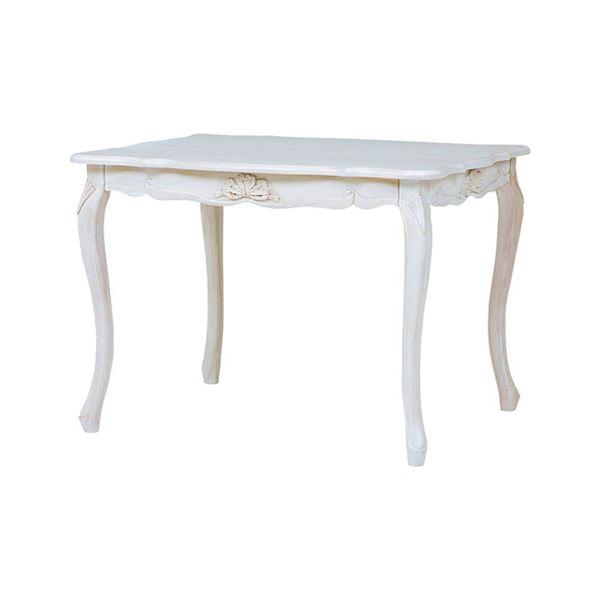 アンティーク調 ダイニングテーブル 【幅100cm】 木製 ウレタン 『フレンチリボンデザイン猫脚家具』 〔リビング〕