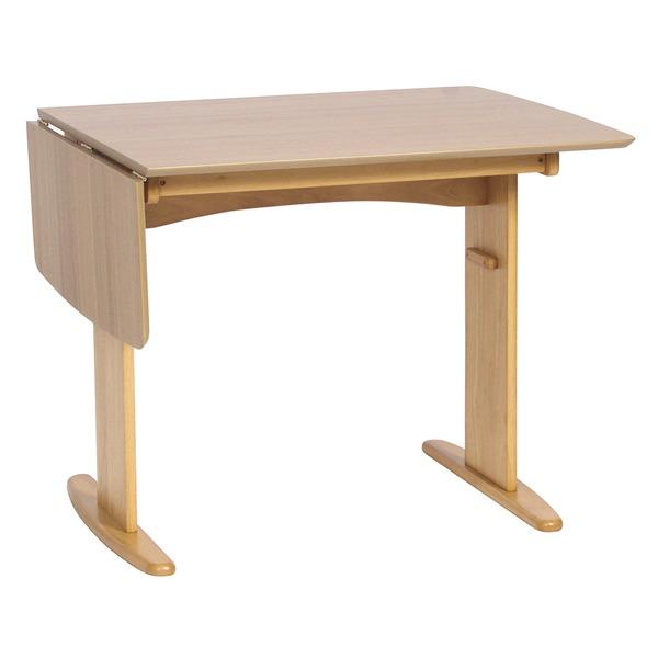 伸長式ダイニングテーブル/バタフライテーブル 【幅90cm/120cm】 ナチュラル 『バター』 木製 スライドタイプ