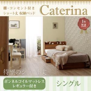 収納ベッド シングル【Caterina】【ボンネルコイルマットレス:レギュラー付き】フレームカラー:ウォルナットブラウン カバーカラー:アイボリー ショート丈 棚・コンセント付き収納ベッド【Caterina】カテリーナ