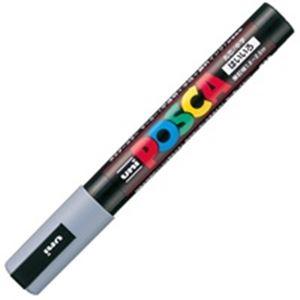 【スーパーSALE限定価格】(業務用200セット) 三菱鉛筆 ポスカ/POP用マーカー 【中字/灰】 水性インク PC-5M.37