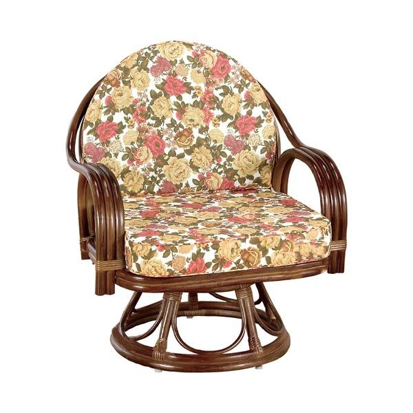 座椅子/天然籐360度回転チェア 高さが選べるゆったり 【ハイタイプ】 座面高/約42cm 木製 持ち手/肘掛け付き 【代引不可】
