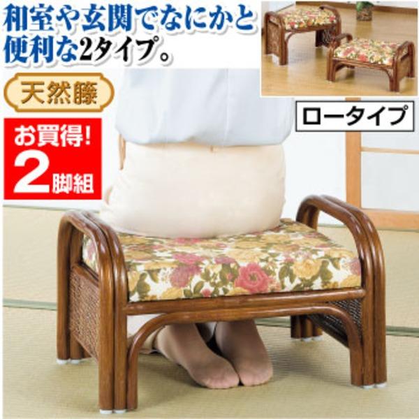 天然籐らくらく座椅子2脚組 【ロータイプ】 座面高23cm (リビング/玄関)【代引不可】