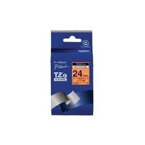 (業務用30セット) brother ブラザー工業 文字テープ/ラベルプリンター用テープ 【幅:24mm】 TZe-B51 蛍光橙に黒文字