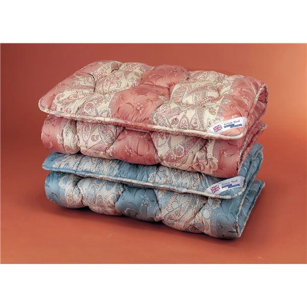 敷布団 【ダブル】/英国羊毛(ステッキマークゴールドラベル)中央増量敷き布団 ピンク (抗菌防臭加工)【代引不可】