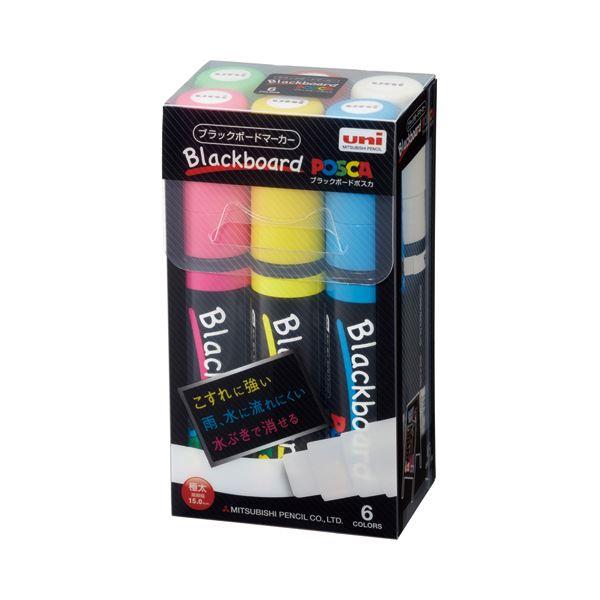(まとめ) 三菱鉛筆 ブラックボードポスカ 極太 6色(各色1本) PCE50017K6C 1パック 【×4セット】