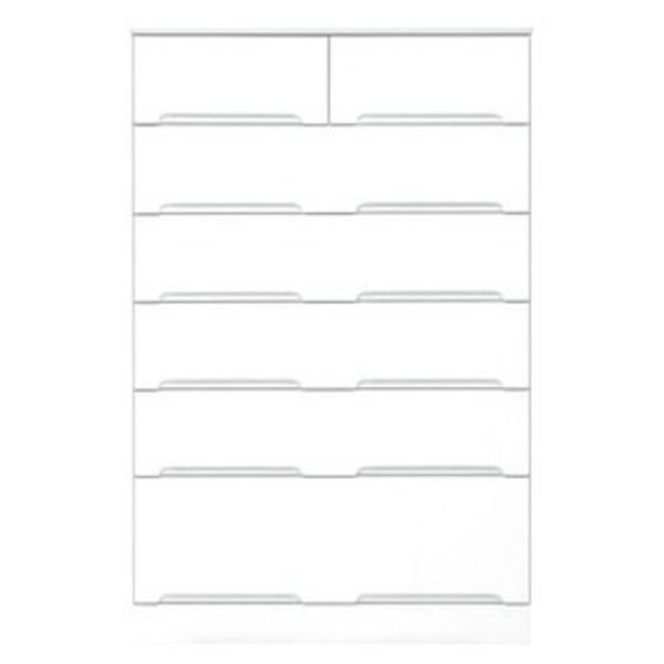 ハイチェスト 6段 【幅80cm】 スライドレール付き引き出し 日本製 ホワイト(白) 【完成品 開梱設置】【代引不可】
