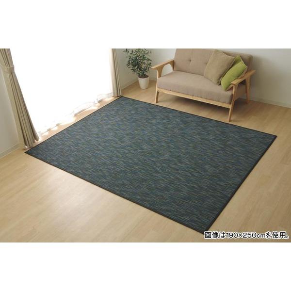 バンブー ラグマット/絨毯 【ブラック 約190×300cm】 竹製 無地 抗菌作用 高耐久性 『DXフォース』 〔リビング〕
