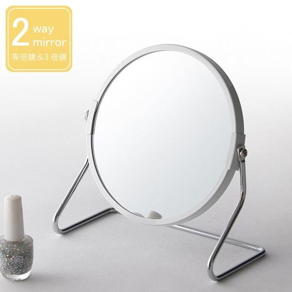 【12個セット】サークル卓上ミラー(ホワイト/白) 2WAY(3倍鏡/拡大鏡) 丸型/飛散防止加工/角度調整可/アイアン/オーバル/カガミ/おしゃれ/業務用/完成品/NK-267