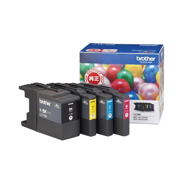 (まとめ) ブラザー BROTHER インクカートリッジ お徳用 4色 大容量 LC17-4PK 1箱(4個:各色1個) 【×3セット】