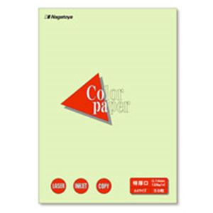 【スーパーSALE限定価格】(業務用100セット) Nagatoya カラーペーパー/コピー用紙 【A4/特厚口 50枚】 両面印刷対応 若草